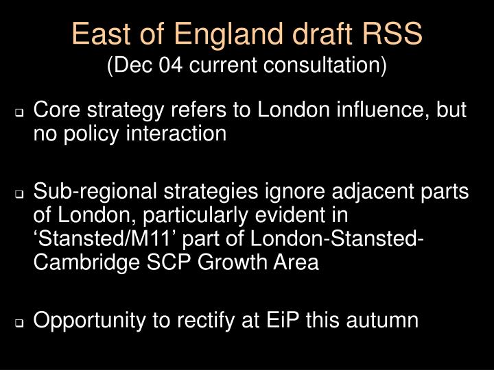East of England draft RSS