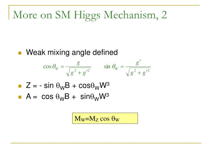 More on SM Higgs Mechanism, 2