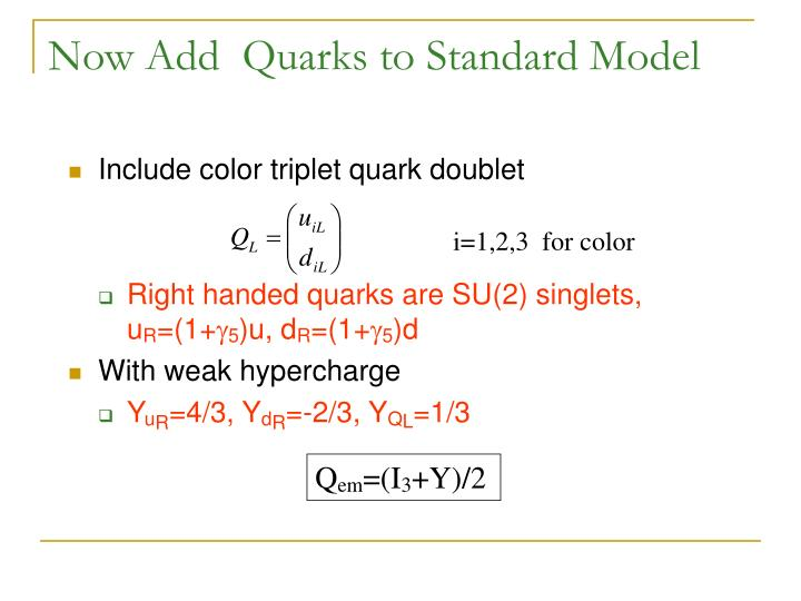 Now Add  Quarks to Standard Model