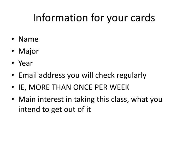 Information for your cards