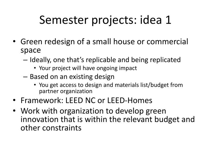 Semester projects: idea 1