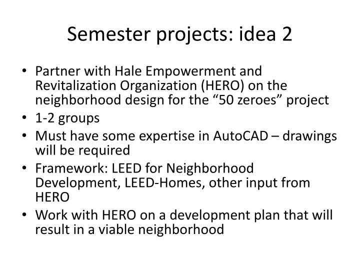 Semester projects: idea 2