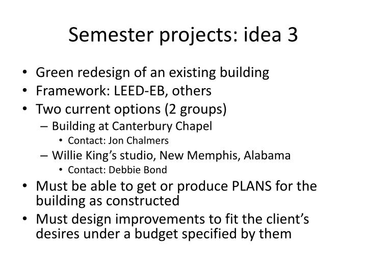 Semester projects: idea 3