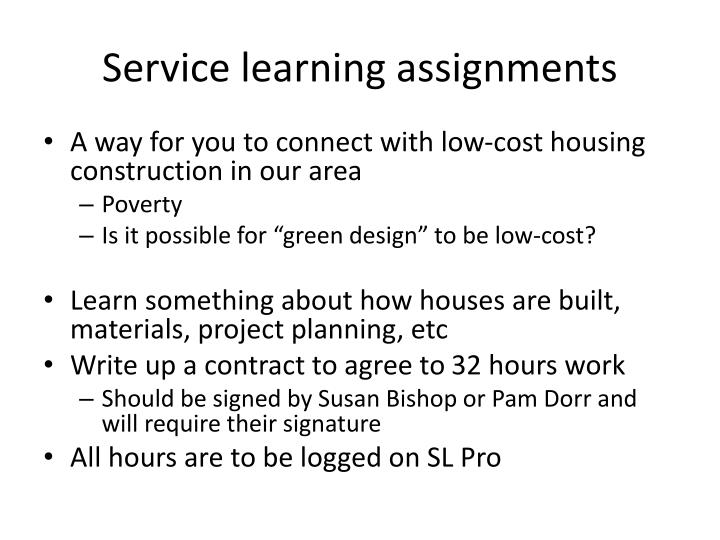Service learning assignments
