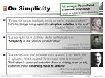 on simplicity