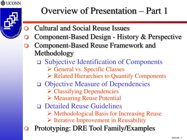 Overview of Presentation – Part 1