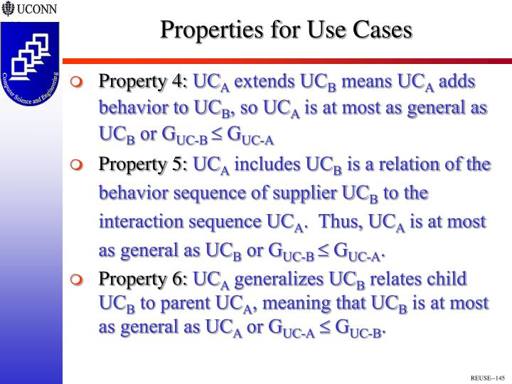 Properties for Use Cases
