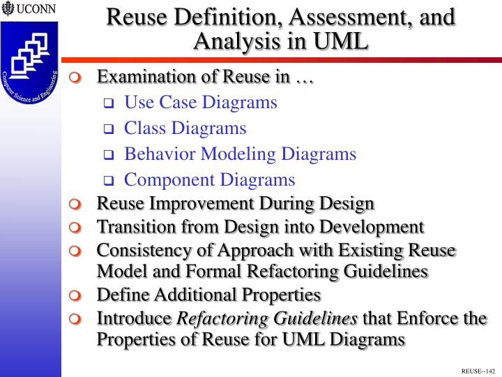 Reuse Definition, Assessment, and Analysis in UML