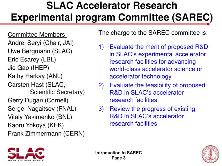 Slac accelerator research experimental program committee sarec