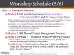 workshop schedule 3 6