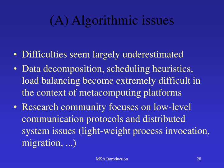 (A) Algorithmic issues