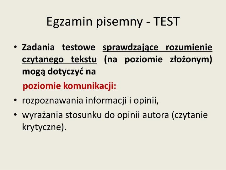 Egzamin pisemny - TEST