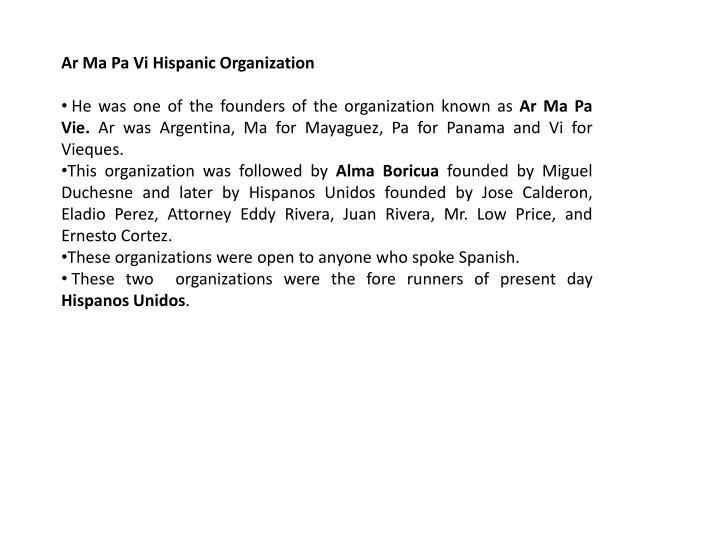 Ar Ma Pa Vi Hispanic Organization