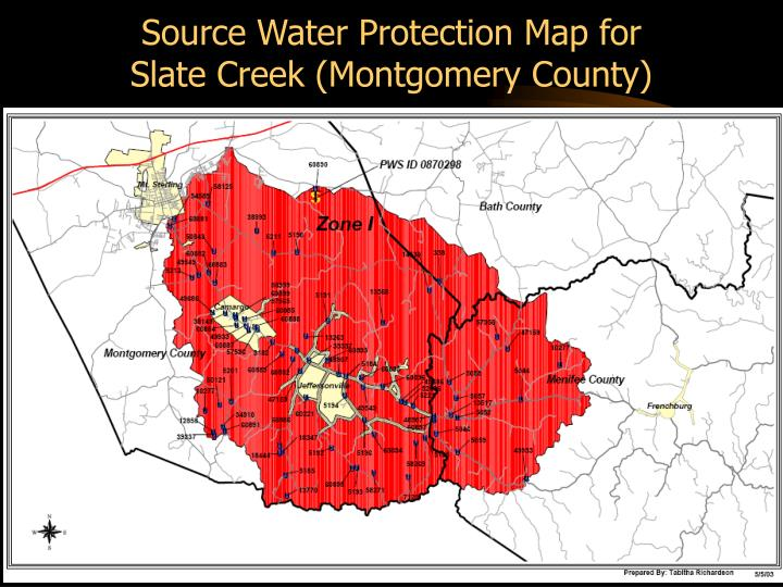 Source Water Protection Map for        Slate Creek (Montgomery County)