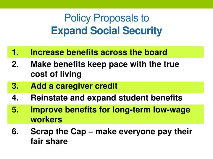 Policy Proposals to