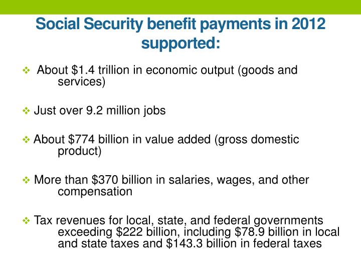 Social Security benefit payments in 2012 supported:
