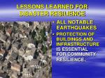 lessons learned for disaster resilience1