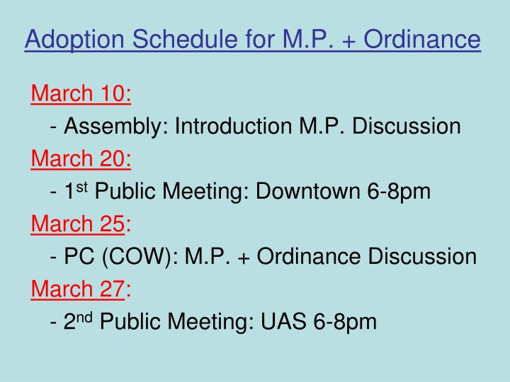 Adoption schedule for m p ordinance