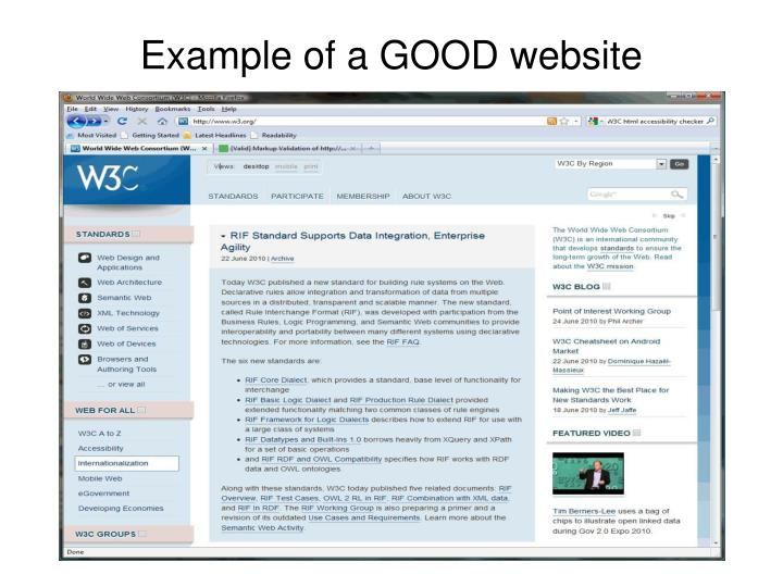 Example of a GOOD website