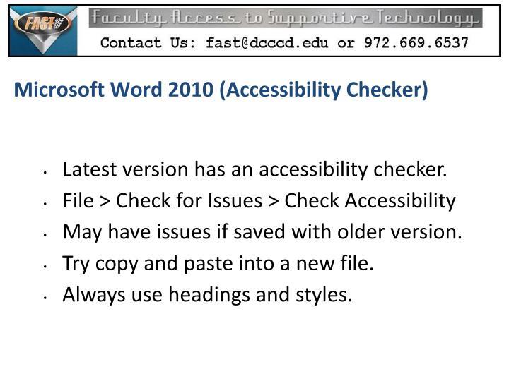 Microsoft Word 2010 (Accessibility Checker)