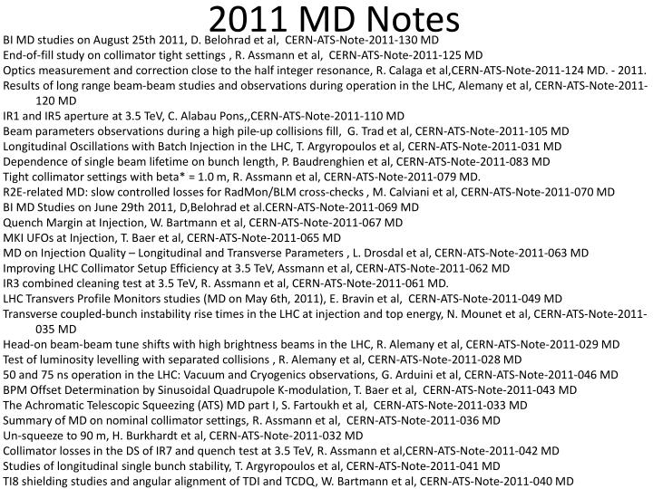 2011 md notes