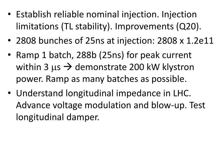 Establish reliable nominal injection.
