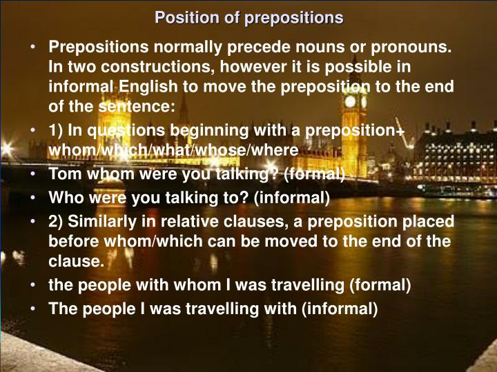 Position of prepositions
