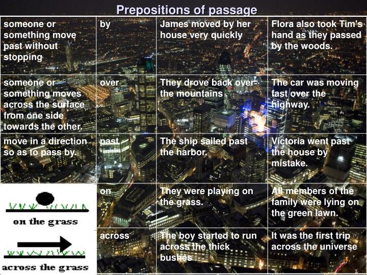 Prepositions of passage