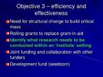 objective 3 efficiency and effectiveness
