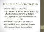 benefits to new screening tool