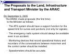 the proposals to the land infrastructure and transport minister by the araic