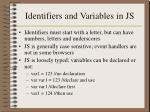 identifiers and variables in js