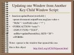 updating one window from another key child window script