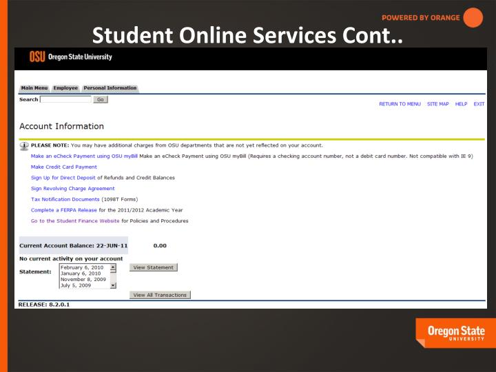 Student Online Services Cont..