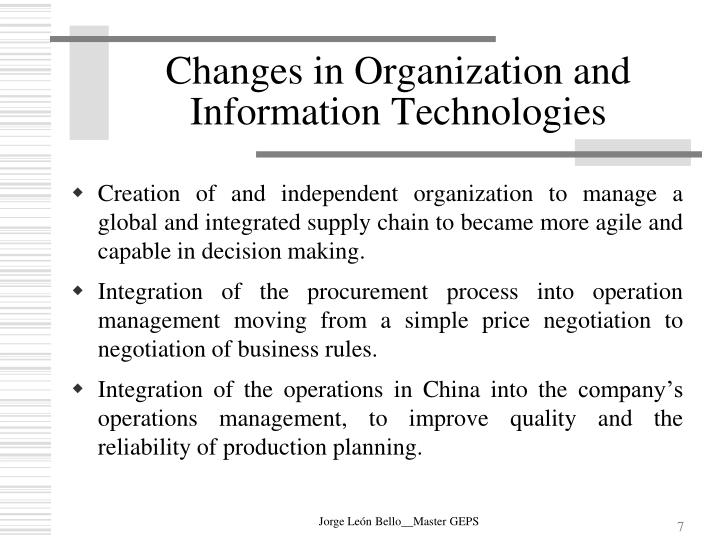 Changes in Organization and Information Technologies