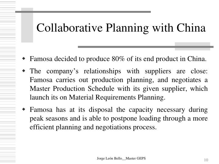 Collaborative Planning with China