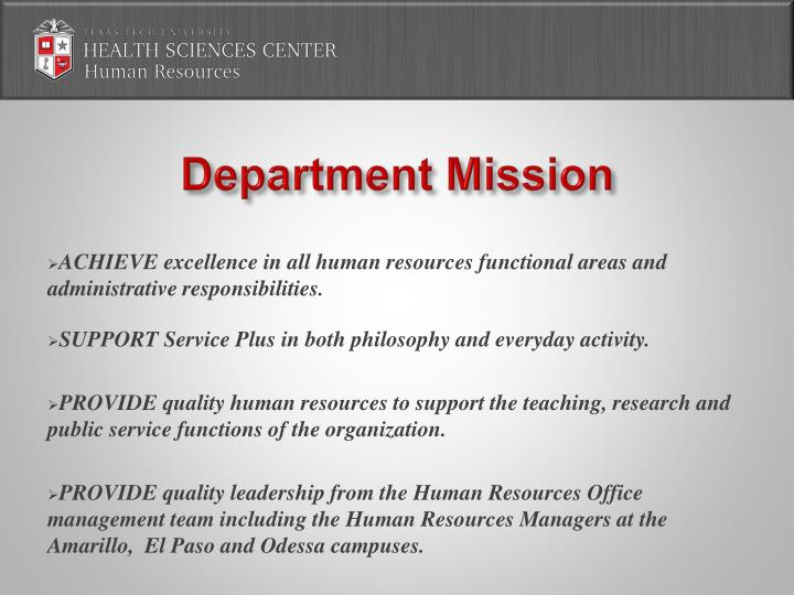 Department Mission