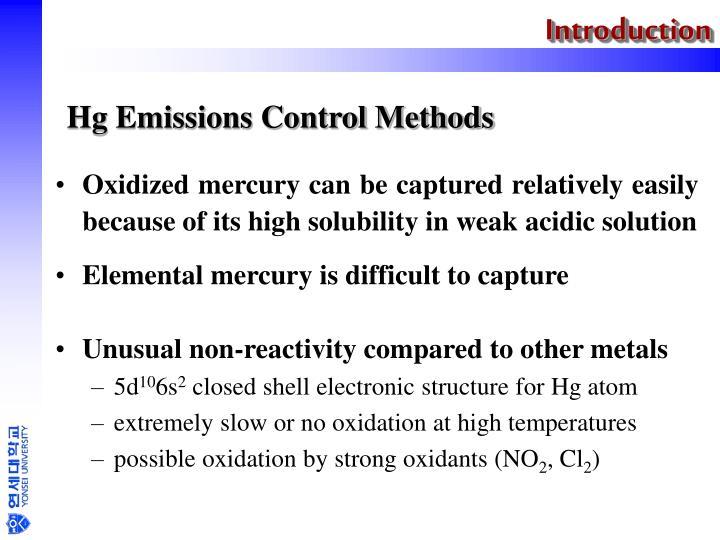 Hg emissions control methods