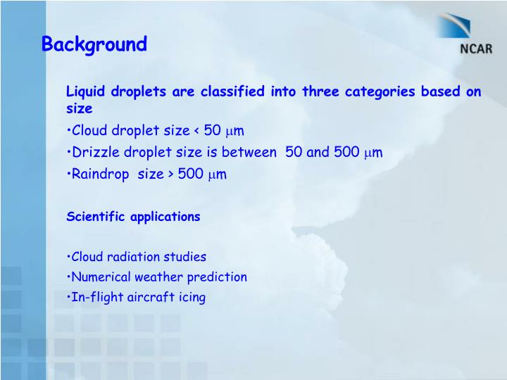 Liquid droplets are classified into three categories based on size