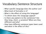 vocabulary sentence structure