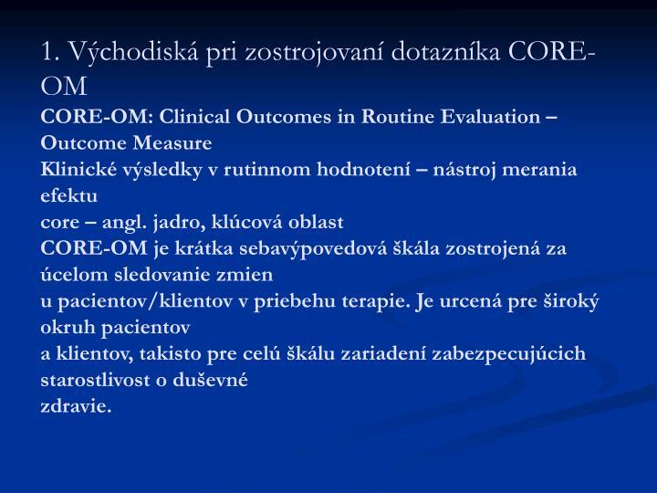 1. Východiská pri zostrojovaní dotazníka CORE-OM