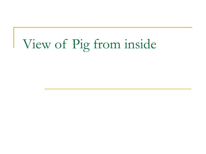 View of Pig from inside