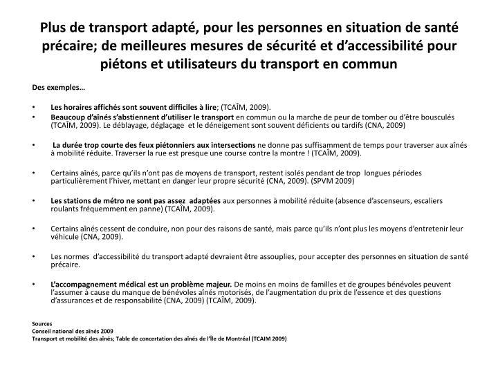 Plus de transport adapté, pour les personnes en situation de santé