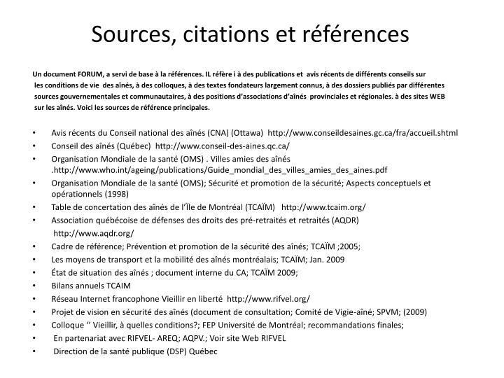Sources citations et r f rences