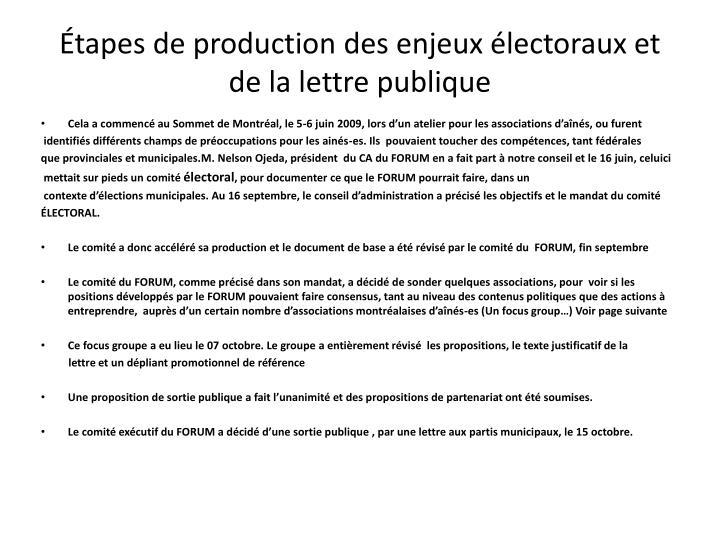 Tapes de production des enjeux lectoraux et de la lettre publique