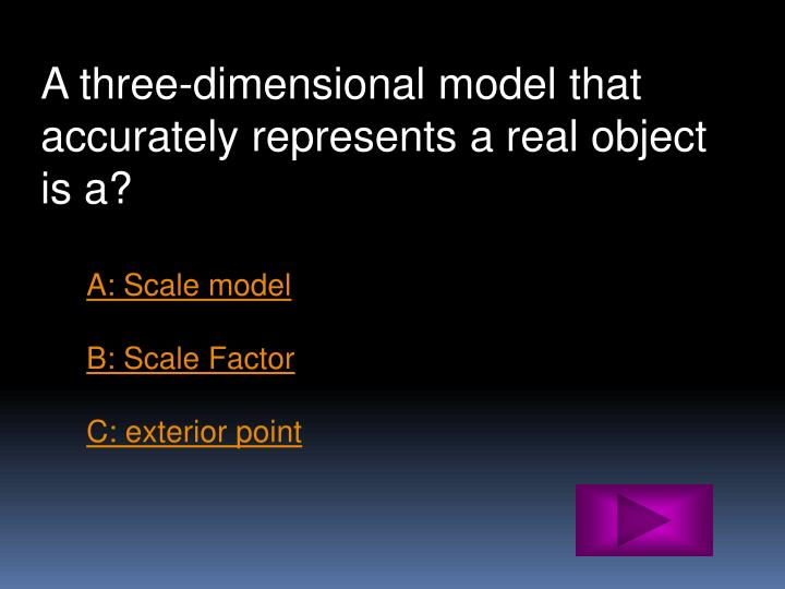 A three-dimensional model that accurately represents a real object is a?