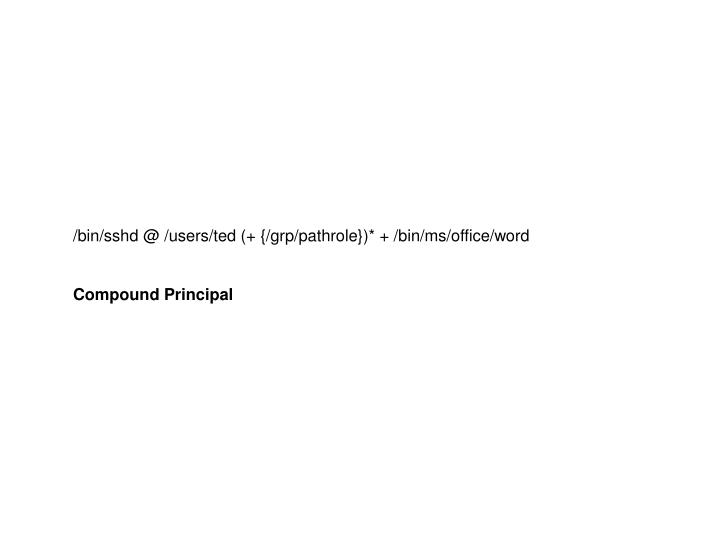 /bin/sshd @ /users/ted (+ {/grp/pathrole})* + /bin/ms/office/word