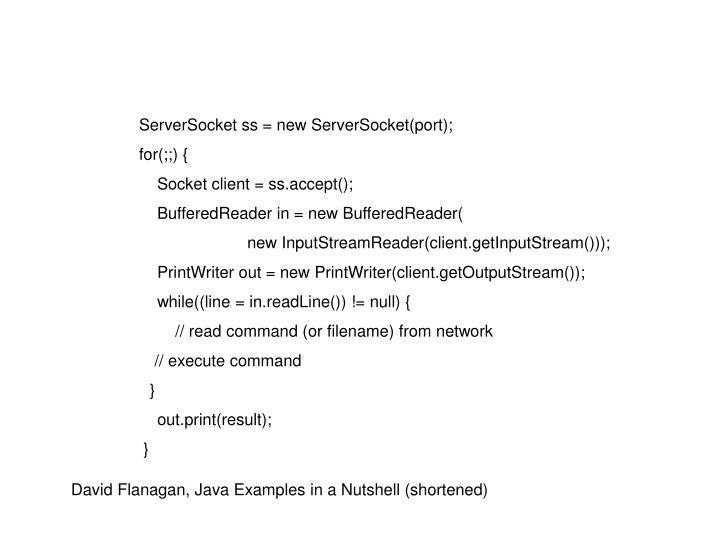 ServerSocket ss = new ServerSocket(port);