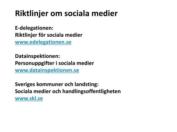 Riktlinjer om sociala medier