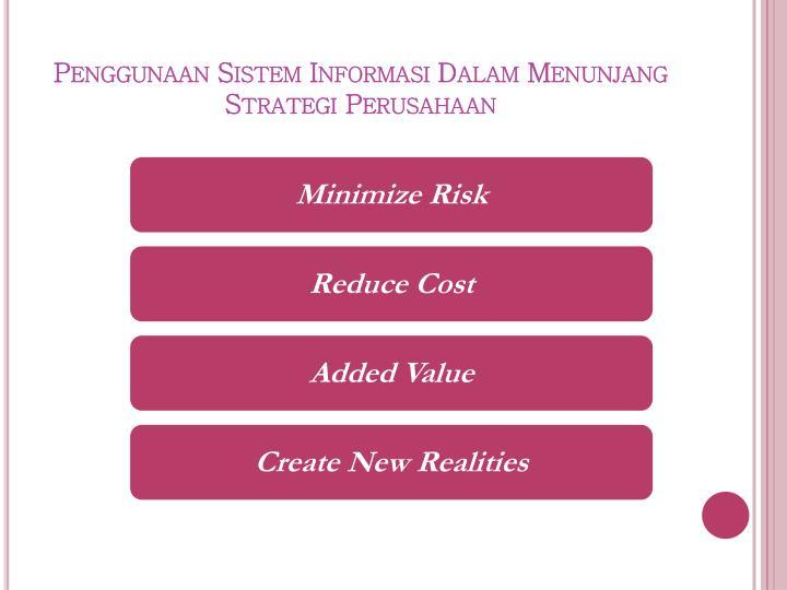 Penggunaan Sistem Informasi Dalam Menunjang Strategi Perusahaan